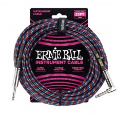 Ernie Ball 25' Braided Instrument Cable - Black/Red/Blue/White