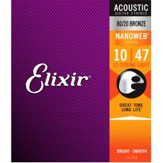 Elixir 11152 Nanoweb 80/20 Bronze 12 String Acoustic Guitar Strings, Light ( 10-47 )