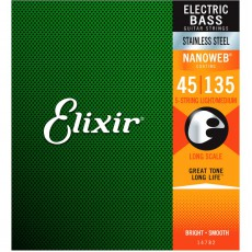 Elixir 5-String Stainless Steel Light - Medium 45 - 135 Long Scale Bass Strings