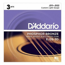 D'Addario EJ26-3D Phosphor Bronze Custom Light Acoustic Strings (.011-.052) 3 Sets