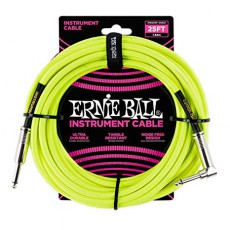 Ernie Ball 25' Braided Instrument Cable - Neon Yellow