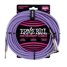 Ernie Ball 6069 Braided Instrument Cable, Straight-Angled, Purple, 25ft