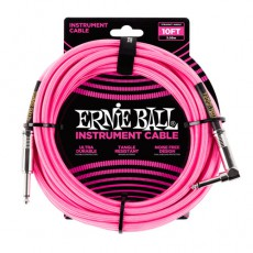 Ernie Ball 10' Braided Instrument Cable, Neon Pink