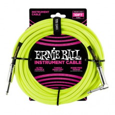 Ernie Ball 10' Braided Instrument Cable, Neon Yellow