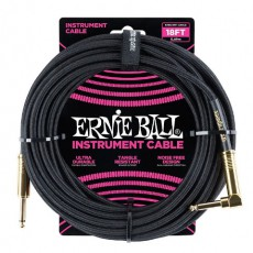 Ernie Ball 18' Braided Instrument Cable, Black