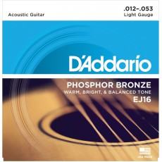 D'Addario EJ16 Phosphor Bronze Light Acoustic Strings (.012-.053)