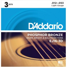 D'Addario EJ16-3D Phosphor Bronze Light Acoustic Strings (.012-.053) 3 Sets