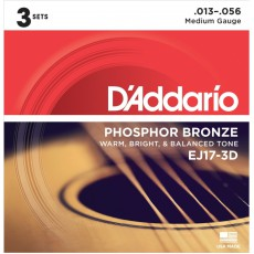 D'Addario EJ17-3D Phosphor Bronze Medium Acoustic Strings (.013-.056) 3 Pack