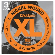 D'Addario EXL110-3D Nickel Wound Regular Light Electric Strings (.010-.046) 3 Sets