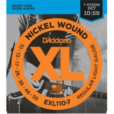 D'Addario EXL110-7 7-String Nickel Wound Regular Light Electric Strings (.010-.059)