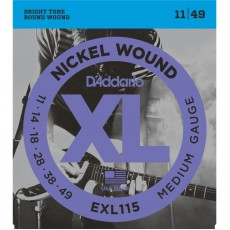 D'Addario EXL115 Nickel Wound Medium Blues Jazz Rock Electric Strings (.011-.049)