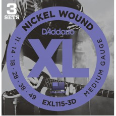 D'Addario EXL115-3D Nickel Wound Medium Blues Jazz Rock Electric Strings (.011-.049) 3 Sets