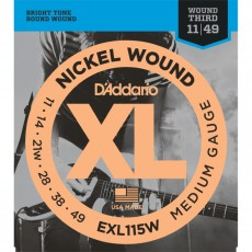 D'Addario EXL115W Nickel Wound Jazz Medium Electric Strings Wound 3rd (.011-.049)