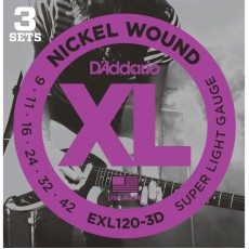 D'Addario EXL120-3D Nickel Wound Super Light Electric Strings (.009-.042) 3 Sets