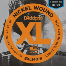 D'Addario EXL140-8 8-String Nickel Wound Light Top Heavy Bottom Electric Strings (.010-.074)