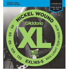 D'Addario EXL165-5 String Nickel Wound Custom Light Bass Strings (.045-.135) Long Scale