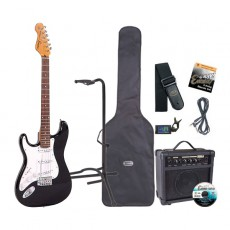 Encore E6 Electric Guitar Pack, Left Hand, Gloss Black