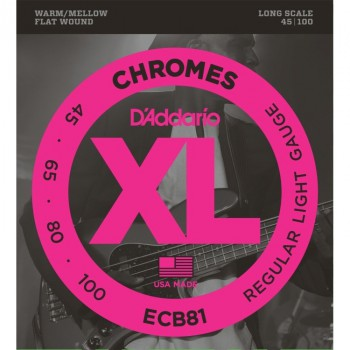 D'Addario ECB81 Chromes Light Electric Bass Strings (.045-.100) Long Scale