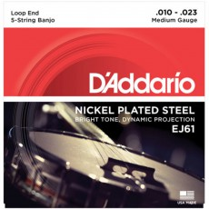 D'Addario EJ61 Nickel 5-String Banjo Strings, Medium, .010 - .023