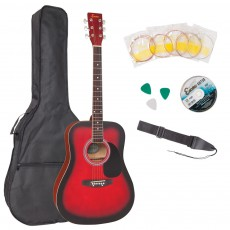 Encore Dreadnought Acoustic Guitar Pack, Redburst