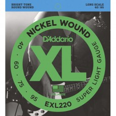 D'Addario EXL220 Nickel Wound Super Light Bass Strings (.040-.095) Long Scale