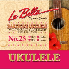 La Bella 25 Silver Plated Ukulele Strings (.028-.036) Baritone