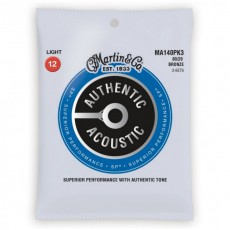 Martin MA140PK3 Authentic Acoustic SP Strings, 80/20 Bronze Light (.012-.054) - 3-Pack
