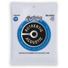 Martin MA150PK3 Authentic Acoustic SP Strings, 80/20 Bronze Medium (.013-.056) - 3-Pack