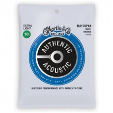 Martin MA170PK3 Authentic Acoustic SP Strings, 80/20 Bronze Extra Light (.010-.047) - 3-Pack