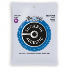 Martin MA175PK3 Authentic Acoustic SP Strings, 80/20 Bronze Custom Light (.011-.052) - 3-Pack