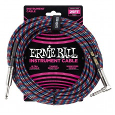 Ernie Ball 25ft Braided Instrument Cable, Right Angle, Woven Multi
