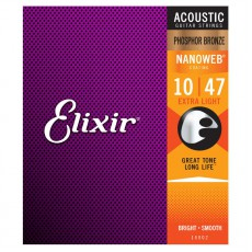 Elixir Phosphor Bronze Nanoweb Extra Light 10 - 47 Acoustic Strings