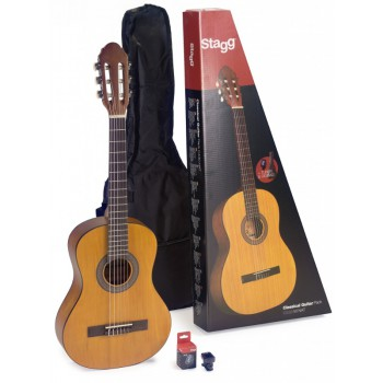 Stagg C430M Pack: 3/4 Size Classical Guitar Pack with Tuner and Bag - Natural