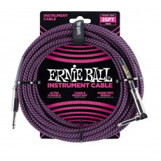 Ernie Ball 25' / 7.6 m Braided Instrument Cable - Black/Purple