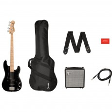 Fender Squier Affinity Series Precision Bass PJ Pack, Maple Fingerboard, Black, Gig Bag, Rumble 15 - 230V UK