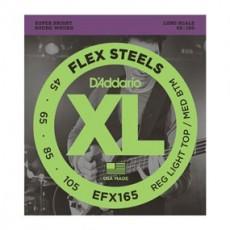 D'Addario EFX165 FlexSteels Bass, Custom Light, 45-105, Long Scale