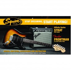 Squier Affinity Series Strat HSS, with Fender Frontman 15G Amp, and more - Brown Sunburst