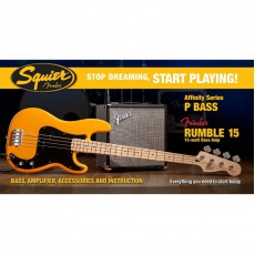 Fender Affinity Series Bass Pack, Precision Bass, Fender Rumble 15w Amp, and more - Butterscotch Blonde