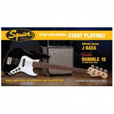 Fender Affinity Series Bass Pack, Jazz Bass, Fender Rumble 15w Amp, and more - Black