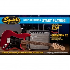 Fender Affinity Series Guitar Pack, HSS Strat, Fender Champion 20 Amp, and more - Candy Apple Red