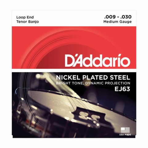 D'Addario EJ63 Nickel Plated Steel Tenor Banjo Strings (.009-.030)