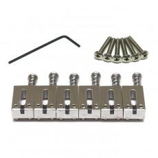 Graph Tech Saddles, PG-8001-00 String Saver Classics, for Strat and Tele Style Offset Saddles - Brushed Steel, 6pcs