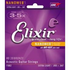 Elixir 11002 80/20 Bronze Nanoweb Extra Light Acoustic Strings (.010-.047)